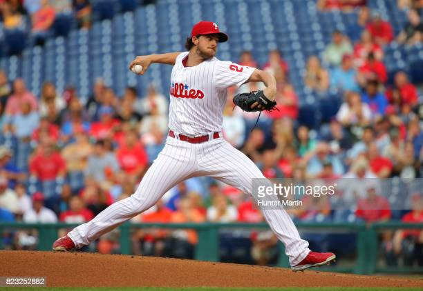 Starter Aaron Nola of the Philadelphia Phillies throws a pitch in the first inning during a game against the Houston Astros at Citizens Bank Park on...