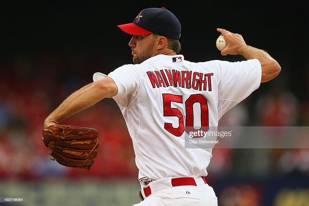 Starter Adam Wainwright #50 of the St. Louis Cardinals pitches against the San Diego Padres in the first inning at Busch Stadium on August 17, 2014 in St. Louis, Missouri.