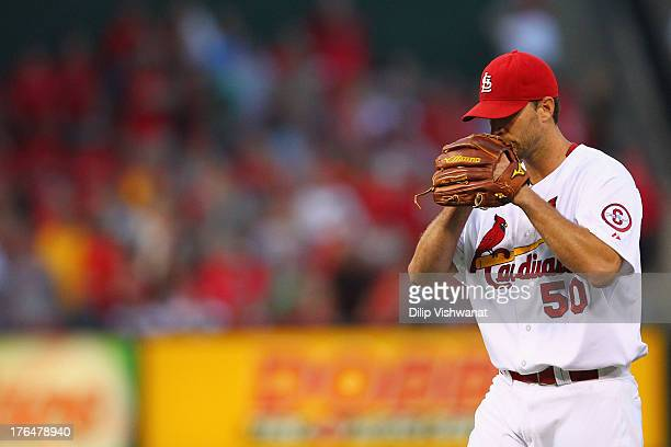 Starter Adam Wainwright of the St Louis Cardinals reacts after giving up a solo home run to Jordy Mercer of the Pittsburgh Pirates at Busch Stadium...