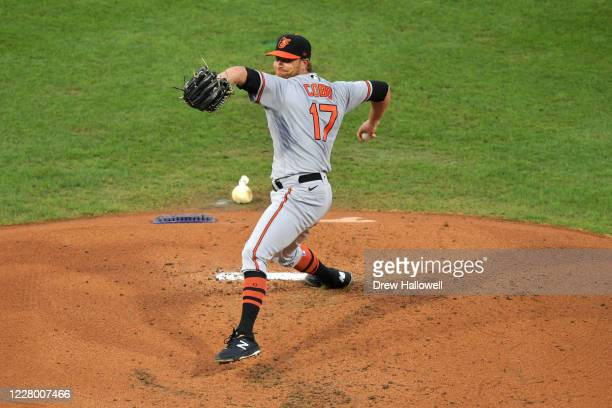 Starter Alex Cobb of the Baltimore Orioles delivers a pitch in the second inning against the Philadelphia Phillies at Citizens Bank Park on August...