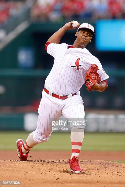 Starter Alex Reyes of the St Louis Cardinals pitches against the Oakland Athletics during the first inning of a baseball game at Busch Stadium on...