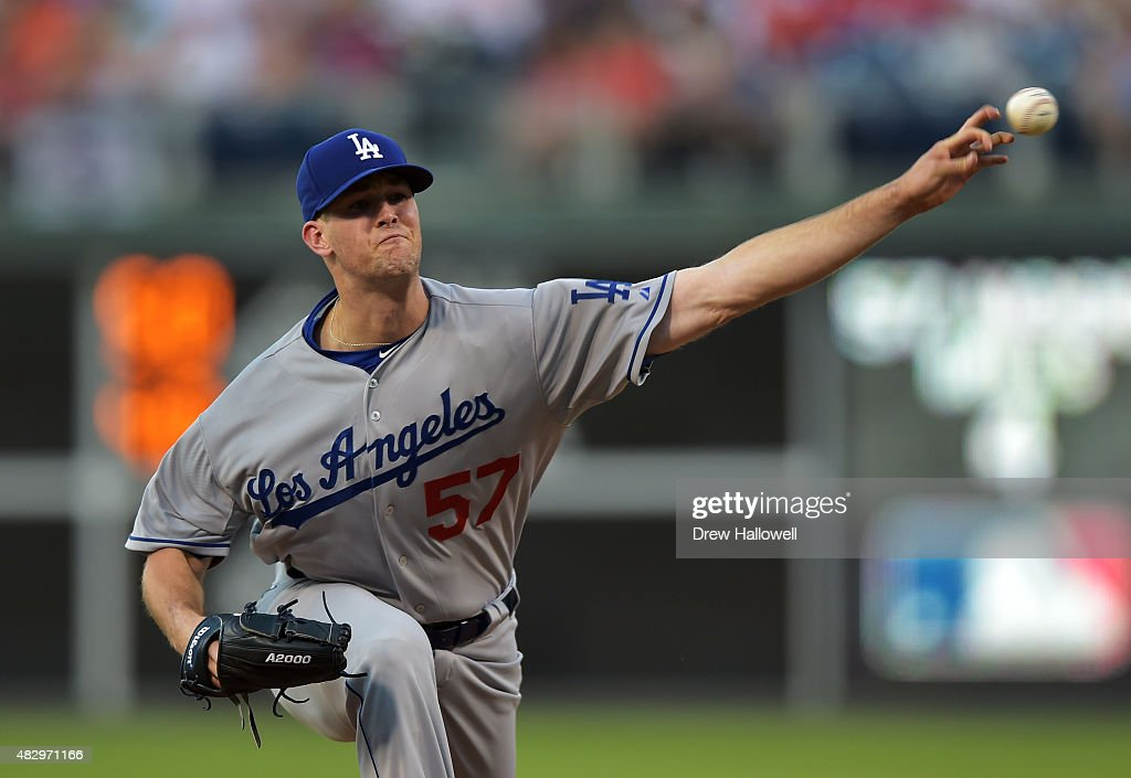 Starter Alex Wood #57 of the Los Angeles Dodgers delivers a pitch in the second inning against the Philadelphia Phillies at Citizens Bank Park on August 4, 2015 in Philadelphia, Pennsylvania.