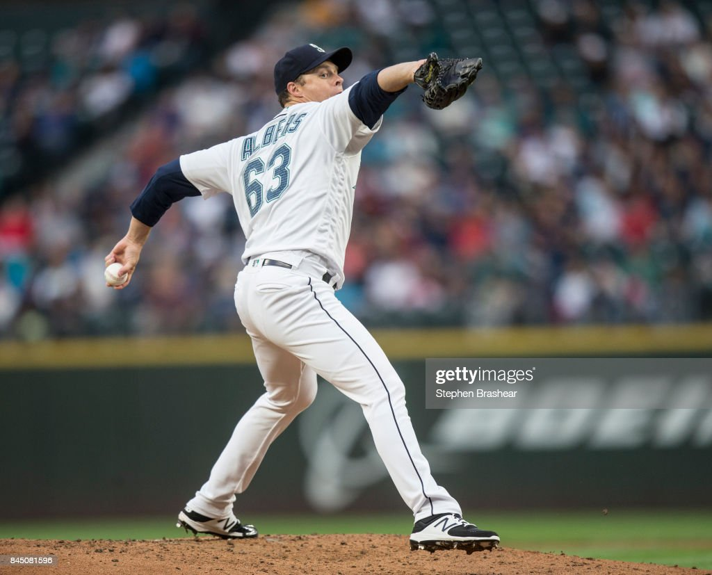 Starter Andrew Albers #63 of the Seattle Mariners delivers a pitch during the third inning of a game against the Los Angeles Angels of Anaheim at Safeco Field on September 9, 2017 in Seattle, Washington.