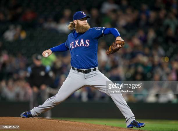 Starter Andrew Cashner of the Texas Rangers delivers a pitch during the first inning of a game against the Seattle Mariners at Safeco Field on...