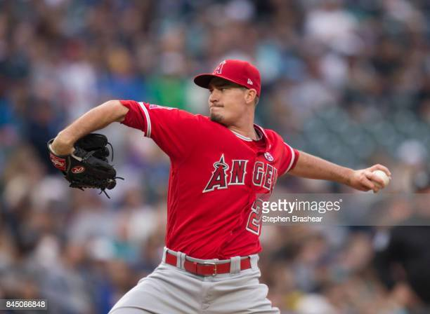 Starter Andrew Heaney of the Los Angeles Angels of Anaheim delivers a pitch during the first inning of a game against the Seattle Mariners at Safeco...