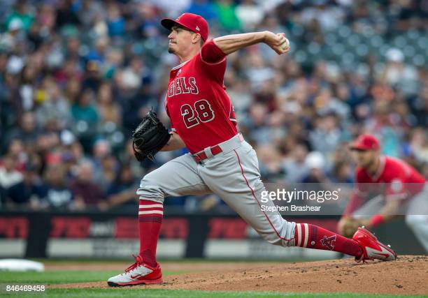 Starter Andrew Heaney of the Los Angeles Angels of Anaheim delivers a pitch during a game against the Seattle Mariners at Safeco Field on September 9...