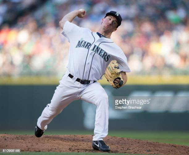 Starter Andrew Moore of the Seattle Mariners delivers a pitch during the third inning of a game against the Oakland Athletics at Safeco Field on July...
