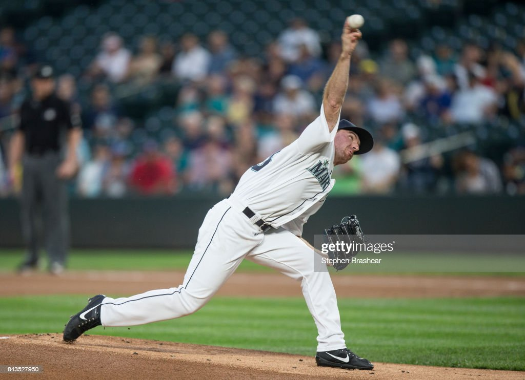 Starter Andrew Moore #48 of the Seattle Mariners delivers a pitch during the first inning of a game against the Houston Astros at Safeco Field on September 6, 2017 in Seattle, Washington.