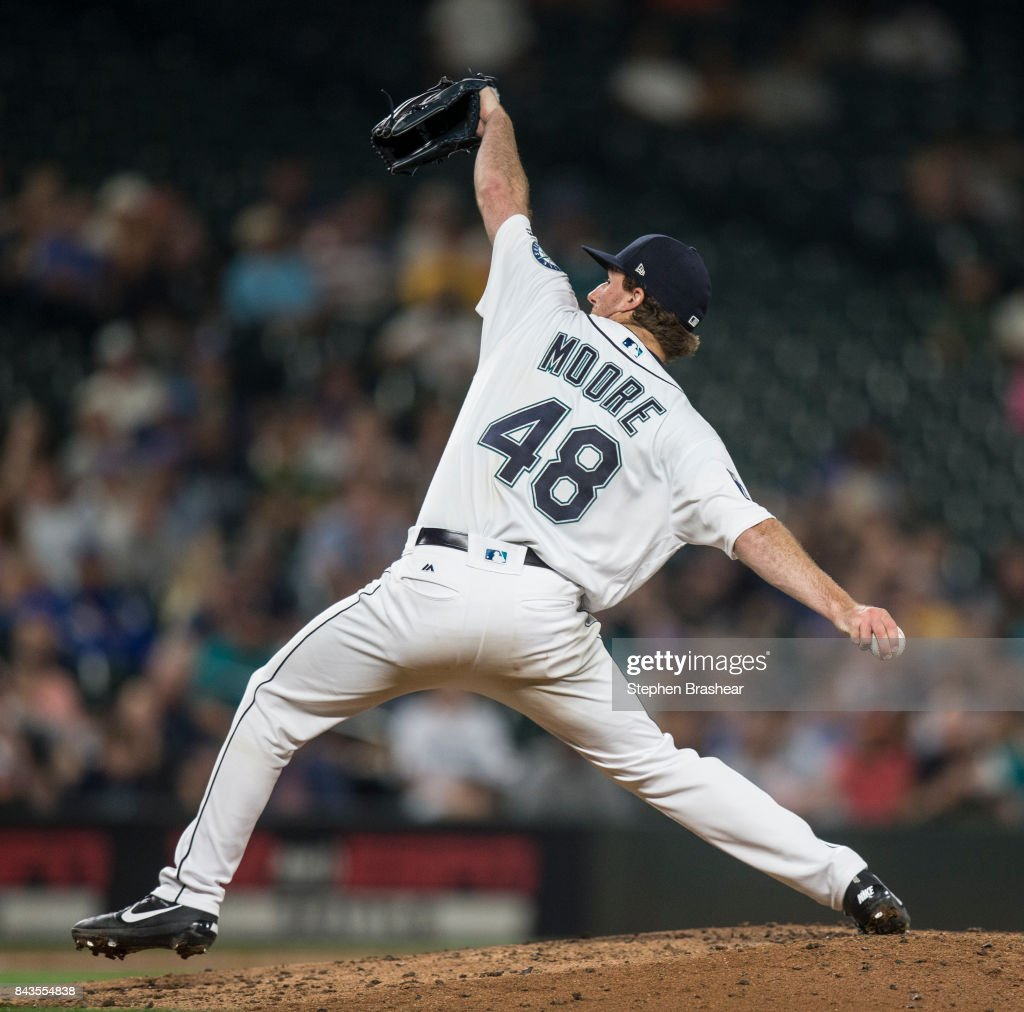 Starter Andrew Moore #48 of the Seattle Mariners delivers a pitch during the sixth inning of a game against the Houston Astros at Safeco Field on September 6, 2017 in Seattle, Washington. The Astros won the game 5-3.