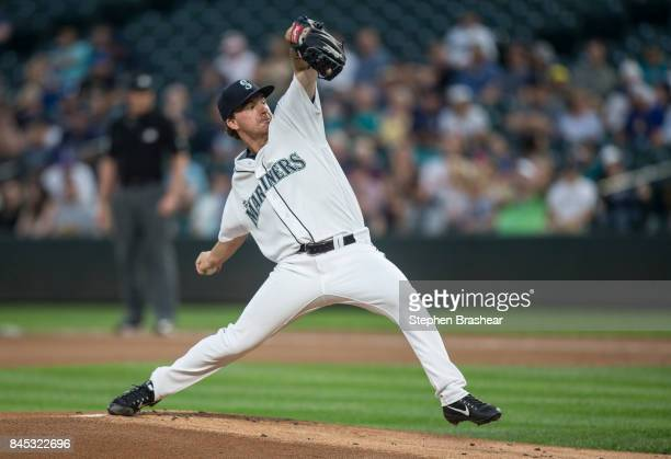Starter Andrew Moore of the Seattle Mariners delivers a pitch during a game against the Houston Astros at Safeco Field on September 6 2017 in Seattle...