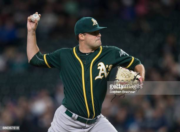 Starter Andrew Triggs of the Oakland Athletics delivers a pitch during a game Seattle Mariners at Safeco Field on May 16 2017 in Seattle Washington...