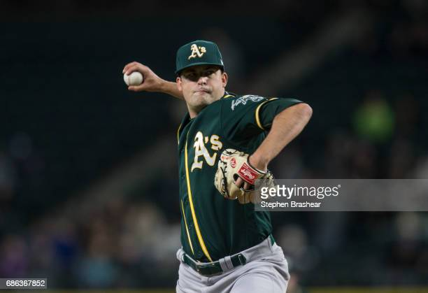 Starter Andrew Triggs of the Oakland Athletics delivers a pitch during a game against the Seattle Mariners at Safeco Field on May 16 2017 in Seattle...
