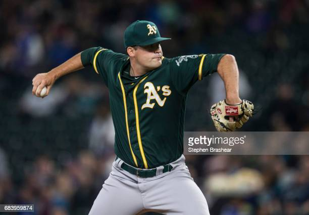 Starter Andrew Triggs of the Oakland Athletics delivers a pitch during the first inning of a game against the Seattle Mariners at Safeco Field on May...