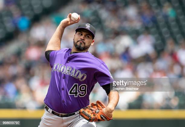Starter Antonio Senzatela of the Colorado Rockies delivers a pitch during a game against the Seattle Mariners at Safeco Field on July 8 2018 in...