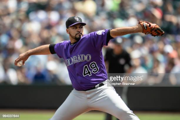 Starter Antonio Senzatela of the Colorado Rockies delivers a pitch during the first inning of a game against the Seattle Mariners at Safeco Field on...