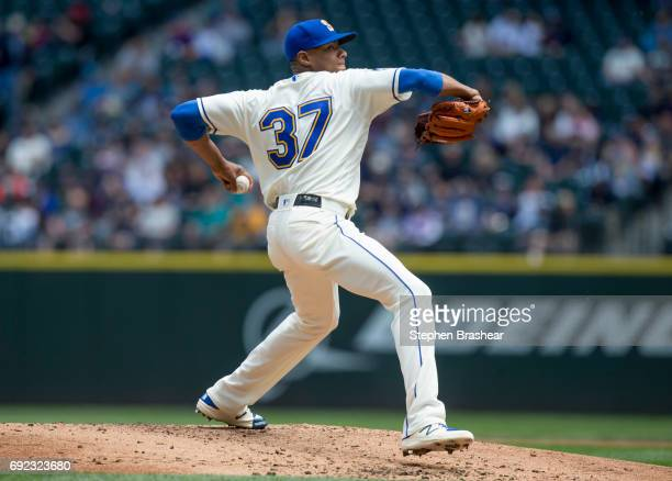 Starter Ariel Miranda of the Seattle Mariners delivers a pitch during the second inning of a game against the Tampa Bay Rays at Safeco Field on June...