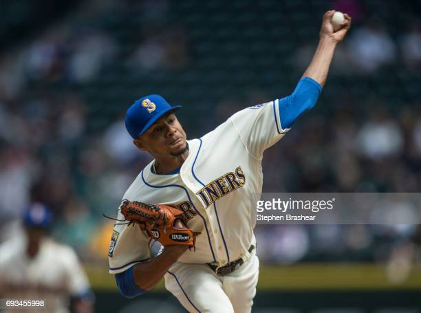 Starter Ariel Miranda of the Seattle Mariners delivers a pitch during a game at against the Tampa Bay Rays at Safeco Field on June 4 2017 in Seattle...