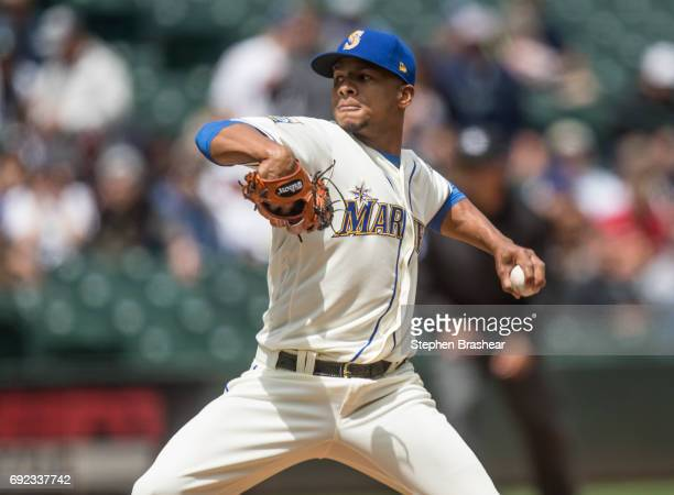 Starter Ariel Miranda of the Seattle Mariners delivers a pitchduring the first inning of a game against the Tampa Bay Rays at Safeco Field on June 4...