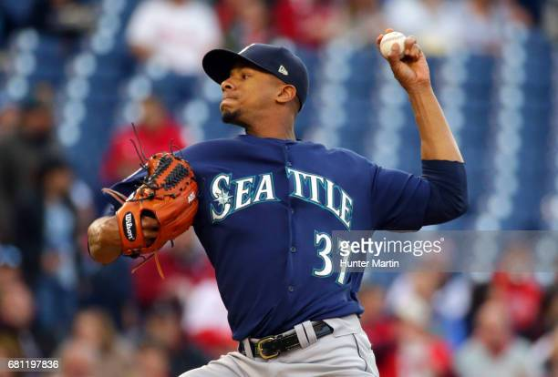 Starter Ariel Miranda of the Seattle Mariners throws a pitch in the first inning during a game against the Philadelphia Phillies at Citizens Bank...