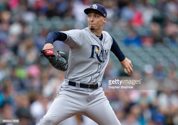Starter Blake Snell of the Tampa Bay Rays delivers a pitch during the first inning of a game against the Seattle Mariners at Safeco Field on June 3...