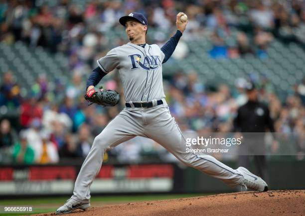 Starter Blake Snell of the Tampa Bay Rays dleivers a pitch during the first inning of a game at Safeco Field on June 3 2018 in Seattle Washington