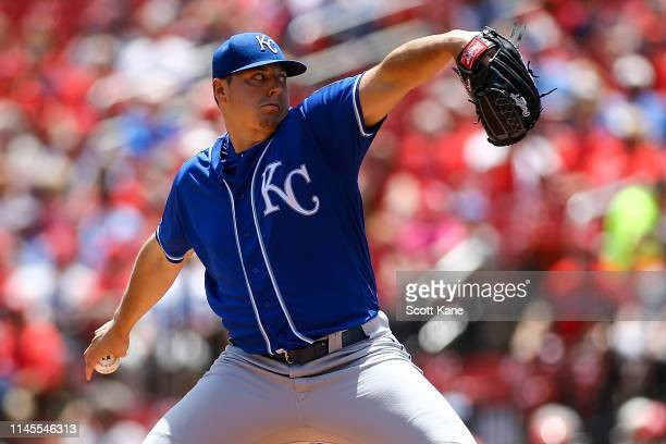 Starter Brad Keller of the Kansas City Royals pitches during the first inning of game one of a double header against the St Louis Cardinals at Busch...