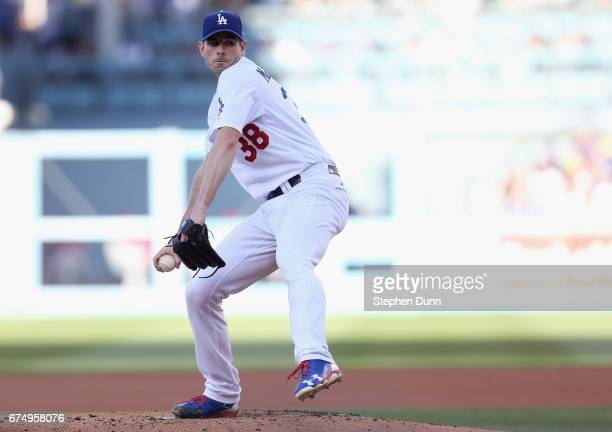 Starter Brandon McCarthy of the Los Angeles Dodgers throws a pitch in the first inning against the Philadelphia Phillies at Dodger Stadium on April...