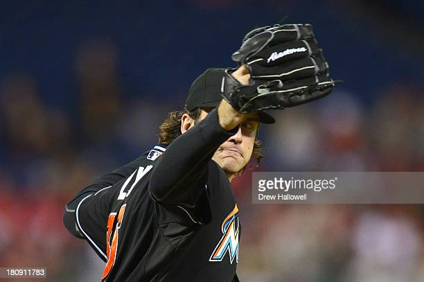 Starter Brian Flynn of the Miami Marlins delivers a pitch against the Philadelphia Phillies at Citizens Bank Park on September 17 2013 in...