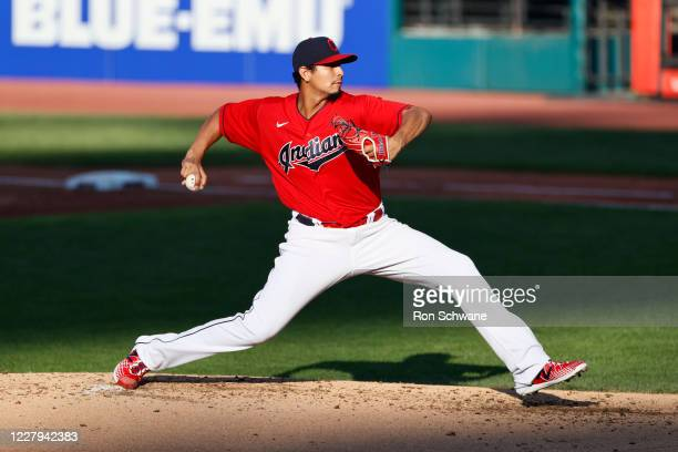 Starter Carlos Carrasco of the Cleveland Indians pitches against the Cincinnati Reds during the second inning at Progressive Field on August 06, 2020...