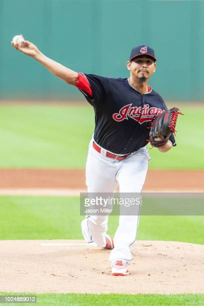 Starter Carlos Carrasco of the Cleveland Indians pitches during the first inning against the Minnesota Twins at Progressive Field on August 28 2018...