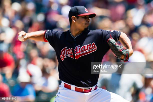 Starter Carlos Carrasco of the Cleveland Indians pitches during the first inning against the Chicago White Sox at Progressive Field on June 11 2017...