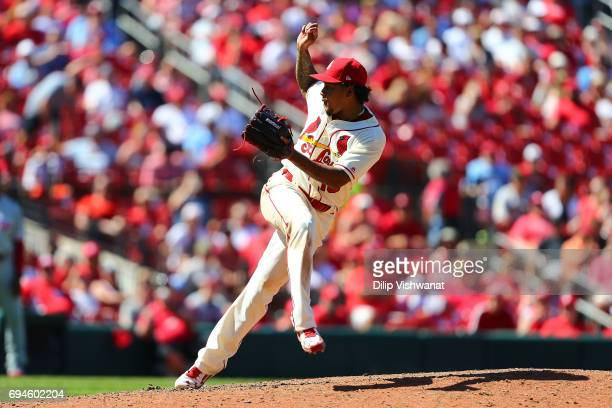 Starter Carlos Martinez of the St Louis Cardinals delivers a pitch against the Philadelphia Phillies in the ninth inning at Busch Stadium on June 10...