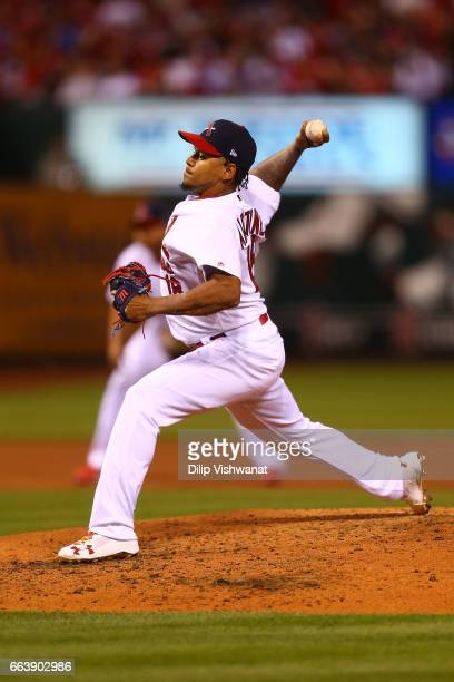 Starter Carlos Martinez of the St Louis Cardinals pitches against the Chicago Cubs in the third inning during the 2017 MLB Opening Day at Busch...