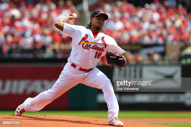 Starter Carlos Martinez of the St Louis Cardinals pitches against the Cincinnati Reds in the eighth inning at Busch Stadium on April 9 2017 in St...