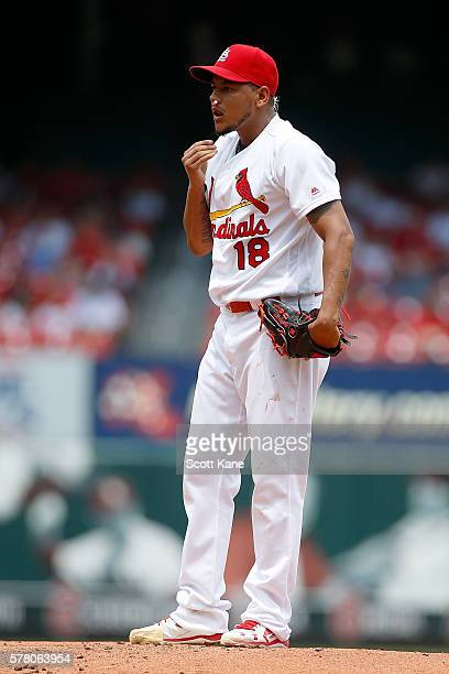 Starter Carlos Martinez of the St Louis Cardinals prepares to pitch against the San Diego Padres after suffering an bloody nose during the second...