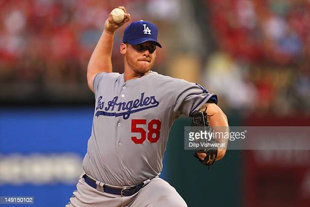 Starter Chad Billingsley of the Los Angeles Dodgers pitches against the St Louis Cardinals at Busch Stadium on July 23 2012 in St Louis Missouri