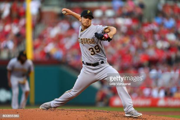 Starter Chad Kuhl of the Pittsburgh Pirates pitches against the St Louis Cardinals in the second inning at Busch Stadium on June 25 2017 in St Louis...