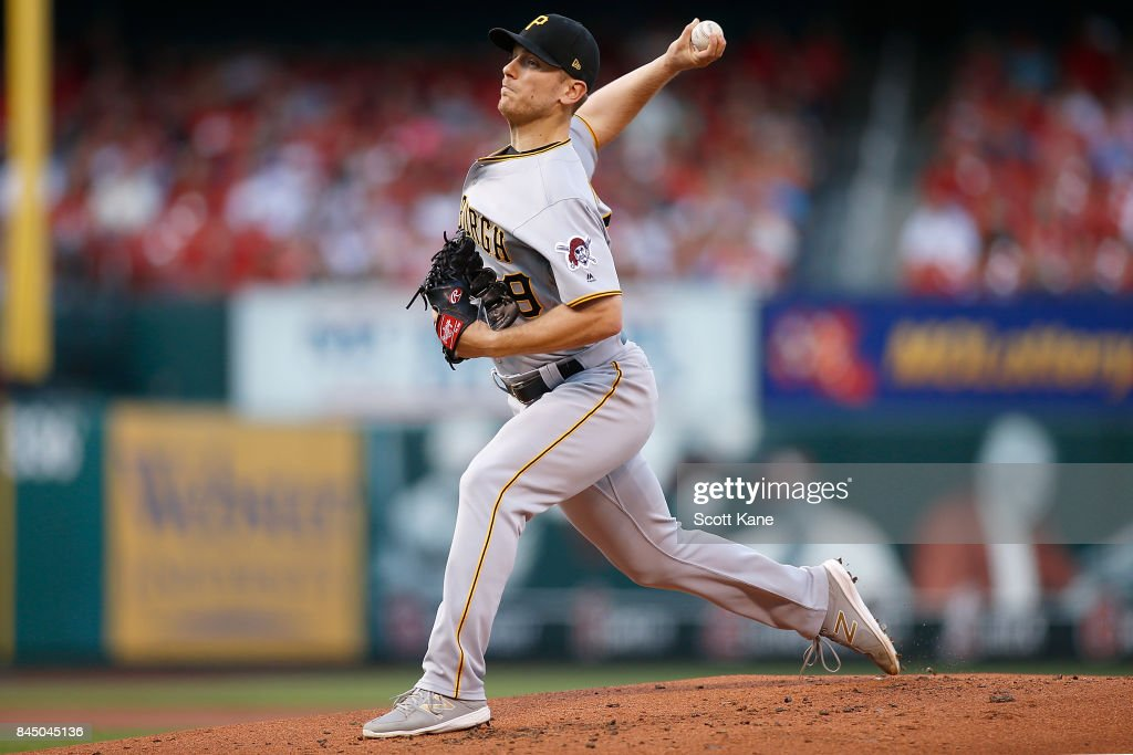 Starter Chad Kuhl #39 of the Pittsburgh Pirates pitches during the first inning against the St. Louis Cardinals at Busch Stadium on September 9, 2017 in St. Louis, Missouri.