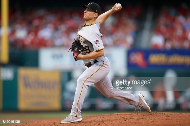 Starter Chad Kuhl of the Pittsburgh Pirates pitches during the first inning against the St Louis Cardinals at Busch Stadium on September 9 2017 in St...