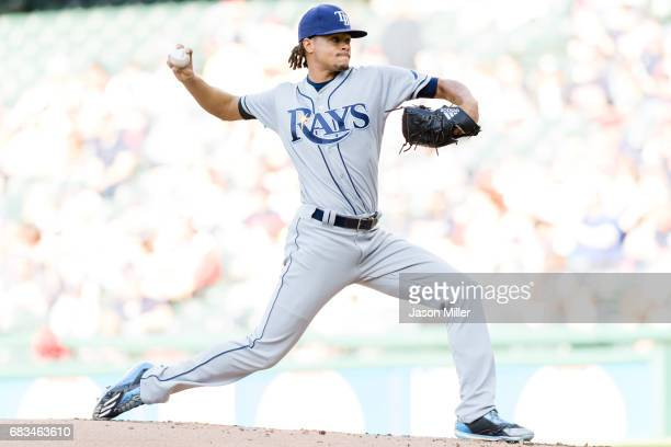 Starter Chris Archer of the Tampa Bay Rays pitches during the first inning against the Cleveland Indians at Progressive Field on May 15 2017 in...