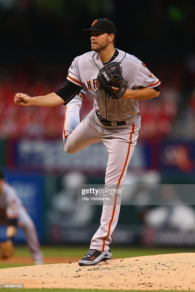 Starter Chris Heston #53 of the San Francisco Giants pitches against the St. Louis Cardinals in the first inning at Busch Stadium on August 17, 2015 in St. Louis, Missouri.