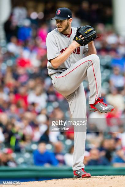 Starter Chris Sale of the Boston Red Sox pitches during the first inning against the Cleveland Indians at Progressive Field on August 24 2017 in...