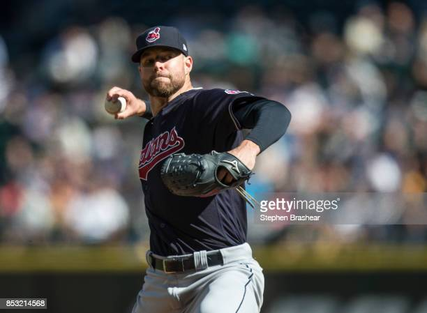 Starter Corey Kluber of the Cleveland Indians delivers a pitch during the third inning of a game against the Seattle Mariners game at Safeco Field on...