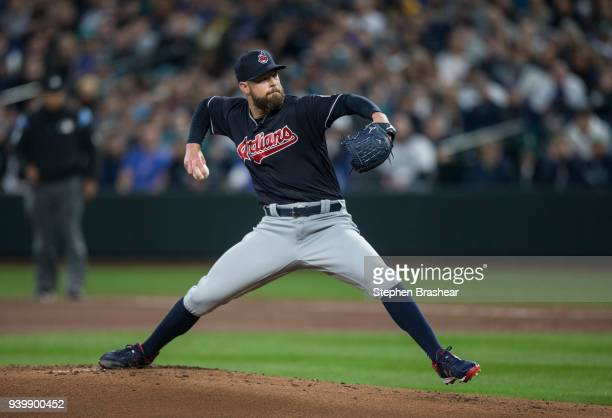 Starter Corey Kluber of the Cleveland Indians delivers a pitch during the first inning of a game against the Seattle Mariners at Safeco Field on...