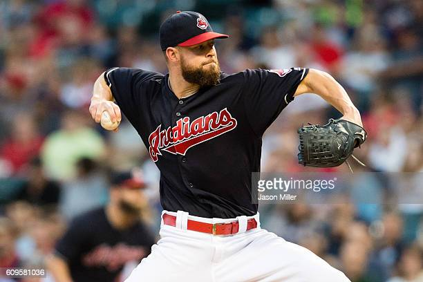 Starter Corey Kluber of the Cleveland Indians pitches during the first inning against the Kansas City Royals at Progressive Field on September 21...