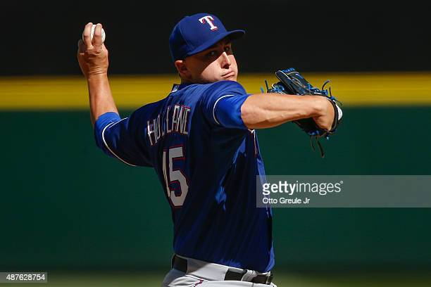 Starter Derek Holland of the Texas Rangers pitches against the Seattle Mariners in the fifth inning at Safeco Field on September 10 2015 in Seattle...