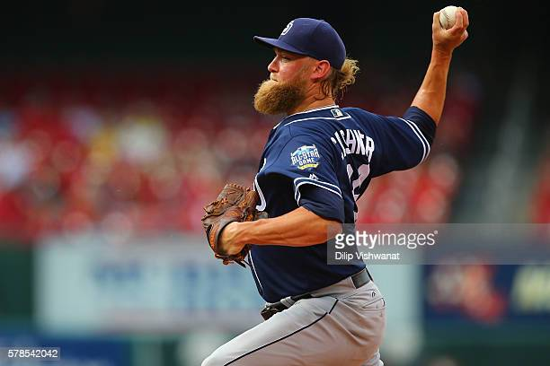 Starter Derek Norris of the San Diego Padres pitches against the St Louis Cardinals in the first inning at Busch Stadium on July 21 2016 in St Louis...