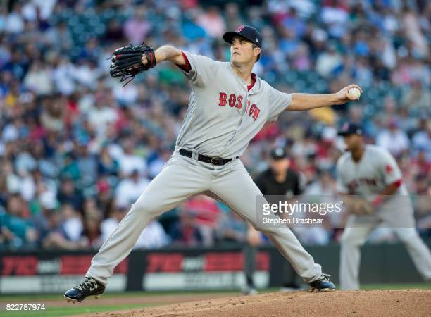 Starter Drew Pomeranz of the Boston Red Sox delivers a pitch during the first inning of a game against the Seattle Mariners at Safeco Field on July...