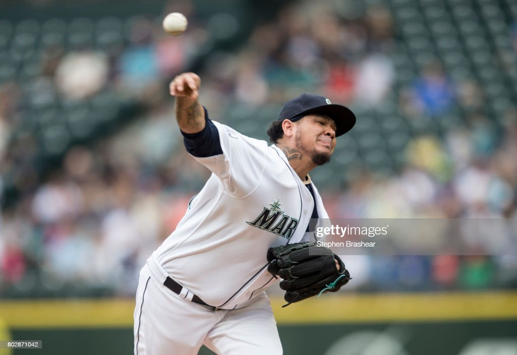 Starter Felix Hernandez #34 of the Seattle Mariners delivers a pitch during the second inning of an interleague against the Philadelphia Phillies game at Safeco Field on June 28, 2017 in Seattle, Washington.