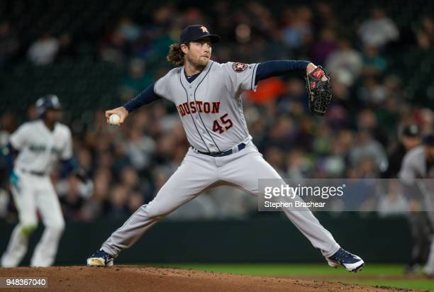 Starter Gerrit Cole of the Houston Astros delivers a pitch during the first inning of a game against the Seattle Mariners at Safeco Field on April 18...